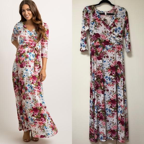eaa4bbc06ae8a PinkBlush Maternity Ivory Floral Wrap Maxi Dress. M_5c3a4103c2e9fe5234653d75